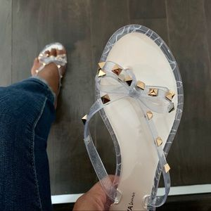 Shoes - Silver Sparkle Jelly Bow Flip Flops